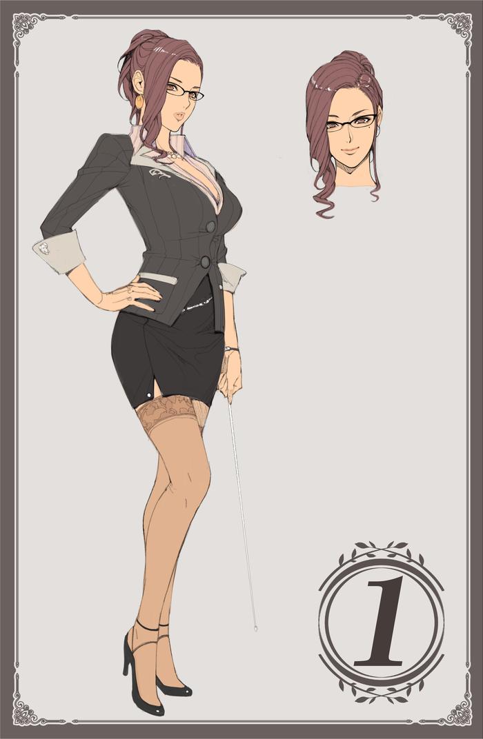 Teacher Аниме, Anime Art, Anime Original, Деловой костюм, Чулки, Очки, Сиськи, Длиннопост