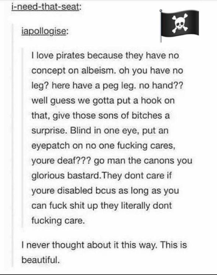 Эгалитарность Пираты, Tumblr, Картинка с текстом, Цитаты, Равенство, Инвалид, Дискриминация, Перевод