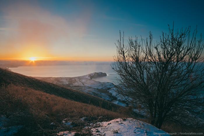 Коктебель Крым, Рассвет, Зима, Море, Фотография