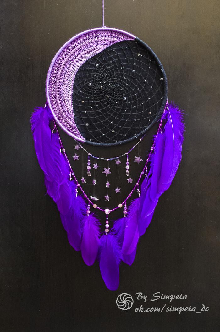 """Ловец снов """"Violet Moon"""" 2.0 Bysimpeta, Dreamcatchers, Handmade, Ловец снов, Рукоделие без процесса, Своими руками, Луна, Длиннопост"""