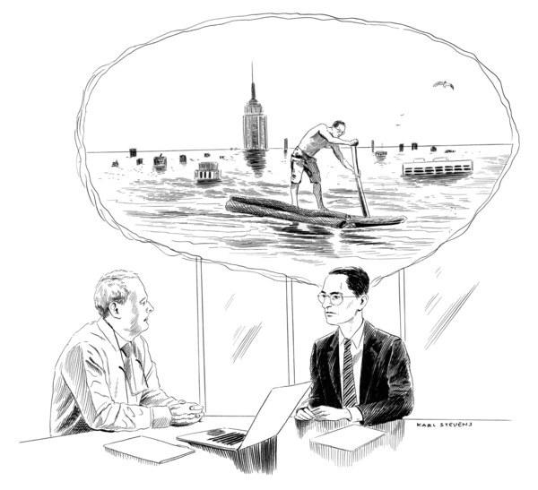 Последний вопрос на собеседовании The New Yorker, Карикатура, Собеседование, Будущее