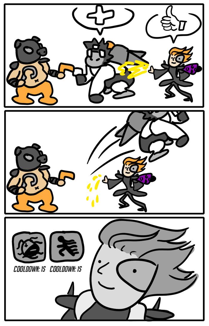 Не вовремя Комиксы, Zizibutik, Overwatch, Moira, Roadhog, Winston