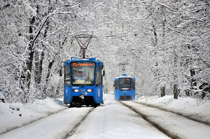 Снежный плен февраля Москва, Парк Дубки, Трамвай, Зима, Снегопад