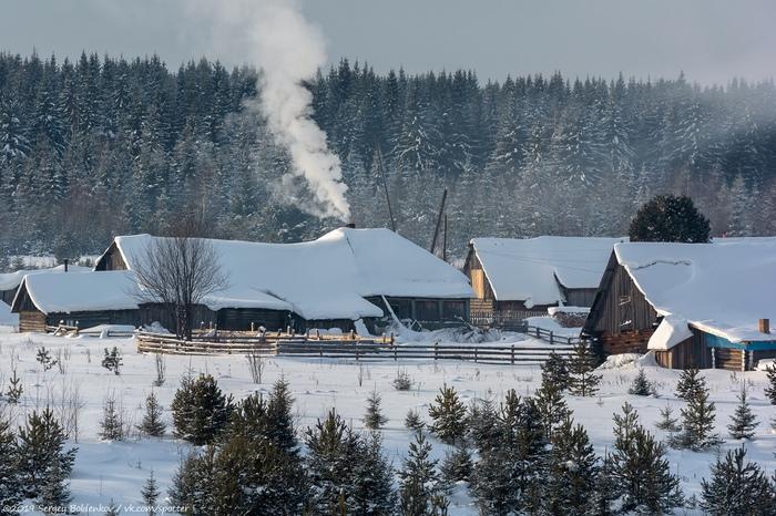Зима в деревне Пермский край, Зима, Деревня, Мороз, Фотография