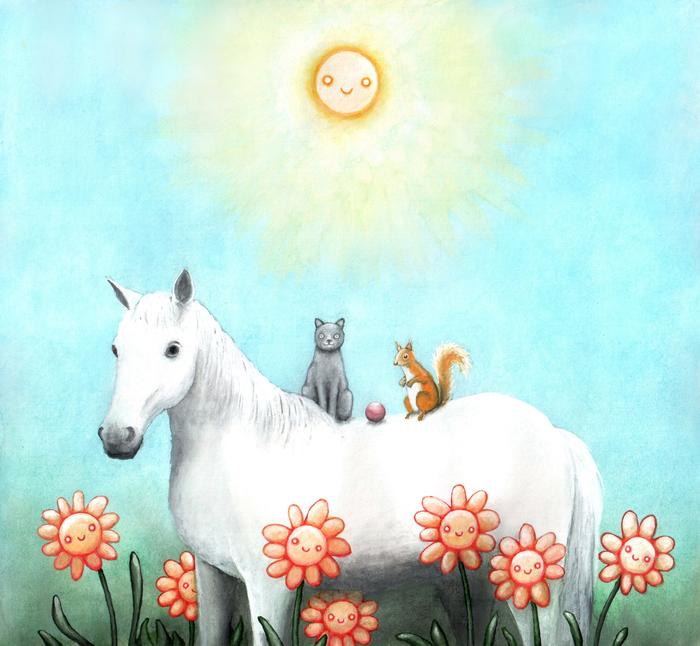 Кот, лошадка, и белочка Лошадь, Кот, Белка, Мяч, Цветы, Солнце, Картина, Гуашь