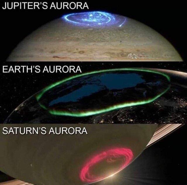 Полярное сияние на разных планетах