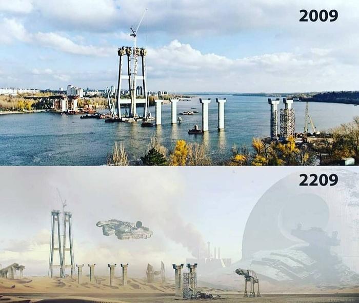 Когда строительство немного затянулось) Запорожье, Мост, Долгострой, Юмор