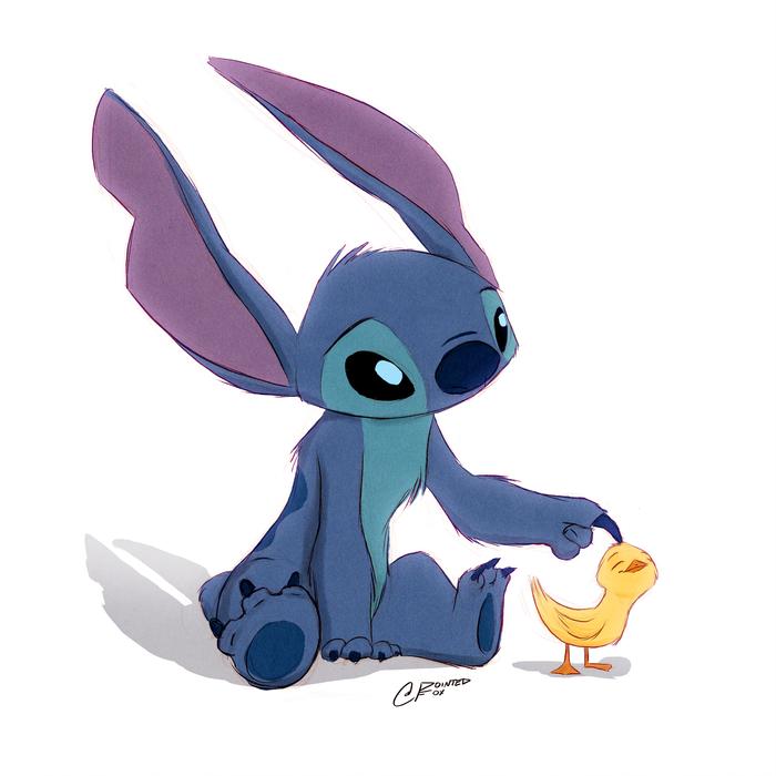 Stitch And Duck Арт, Дисней, Мультфильмы, Лило и Стич, Лило и Стичь, Стич, Утенок, Pointedfox