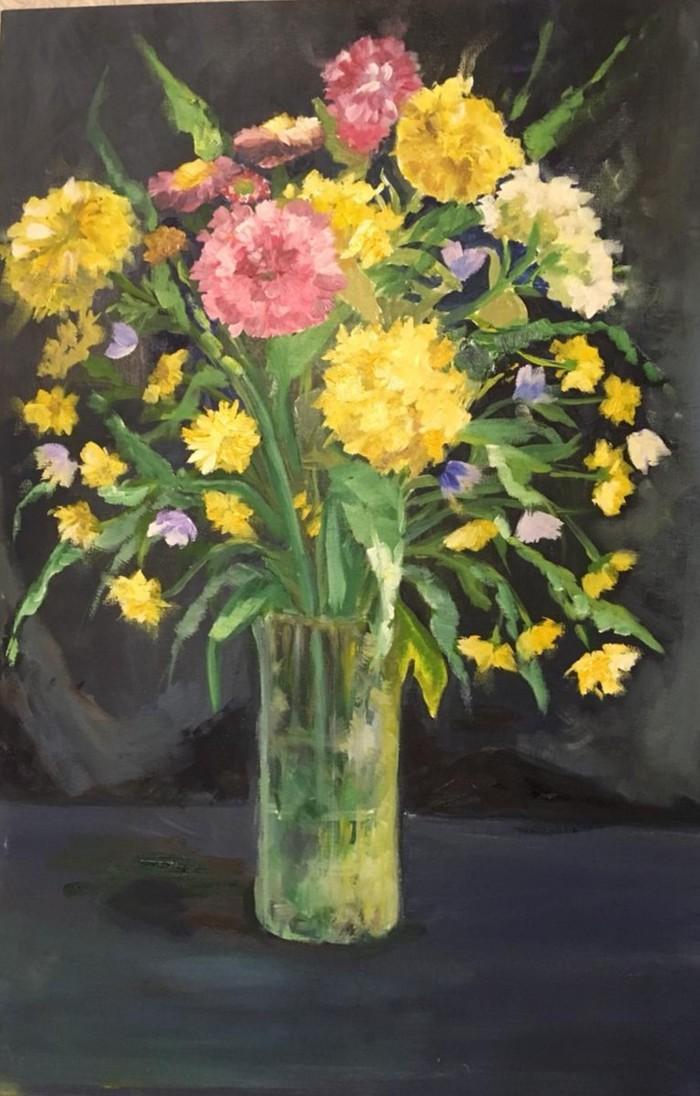 """Картина маслом """"Цветы на темном фоне"""""""