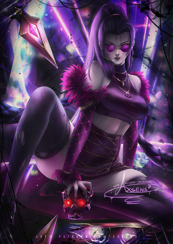 K/DA Widowmaker Art Арт, Axsens, Overwatch, Widowmaker, KDA, Девушки, League of Legends, Evelynn