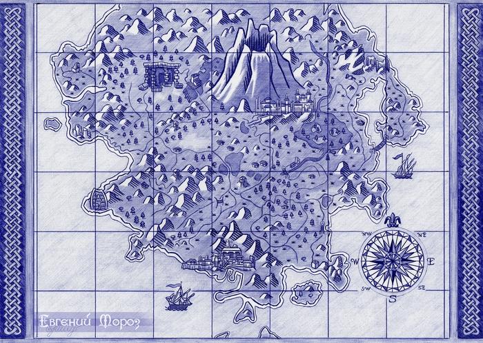 Карта острова Фаранга Рисунок, Графика, Risen, Piranha Bytes, Шариковая ручка, Арт, Фан-Арт, Ручка