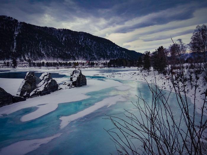 Бирюзовый лёд.Катунь. Начинающий фотограф, Горный Алтай, Путешествия, Длиннопост, Лёд