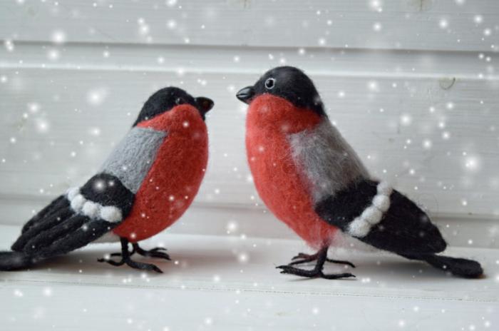 Снегири прилетели))) Рукоделие без процесса, Своими руками, Сухое валяние, Снегири, Handmade, Птицы