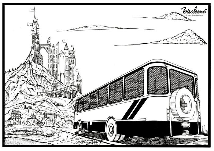 """""""Лиаз на фоне замка"""" Лиаз, Лиаз-677м, Арт, Тушевая графика, Рисунок, Автобус, Графика"""