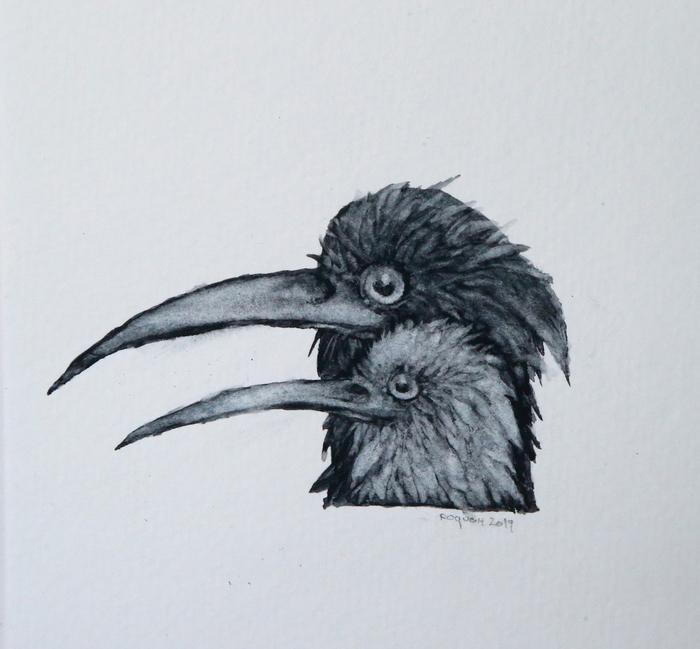 Он и Она Рисунок, Графика, Гуашь, Сюрреализм, Птицы