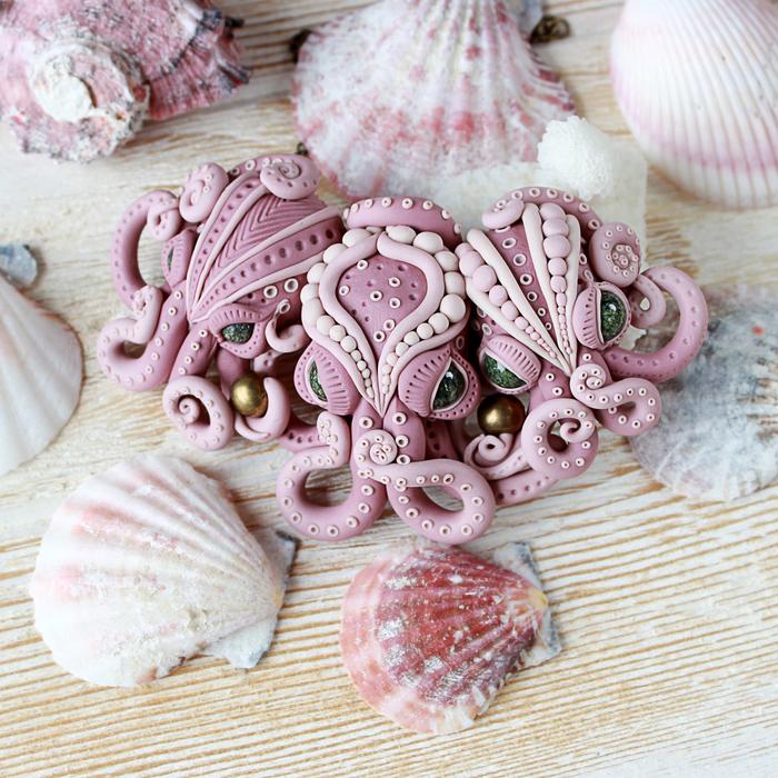 Розовое колье с осьминогами Полимерная глина, Рукоделие без процесса, Рукоделие, Украшение, Красивое, Красота, Кулон, Ручная работа