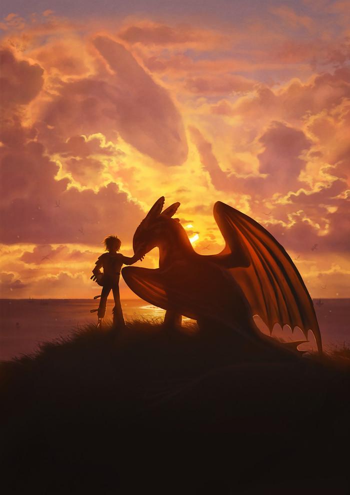 Hidden World Арт, Мультфильмы, Dreamworks, Как приручить дракона, Иккинг, Беззубик, Дракон, Lhuin