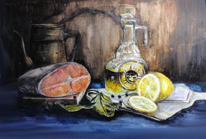 Натюрморт за день, акварель, А3 Акварель, Натюрморт, Живопись, Картина, Рыба, Лимон, Бутылка
