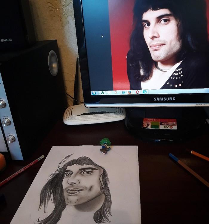 Решила вдруг порисовать) Кстати, как думаете, кто получит Оскар? Я за Bohemian Rhapsody. Bohemian Rhapsody, Богемская рапсодия, Портрет, Фредди Меркьюри, Рисунок, Рисунок карандашом, Оскар, Длиннопост