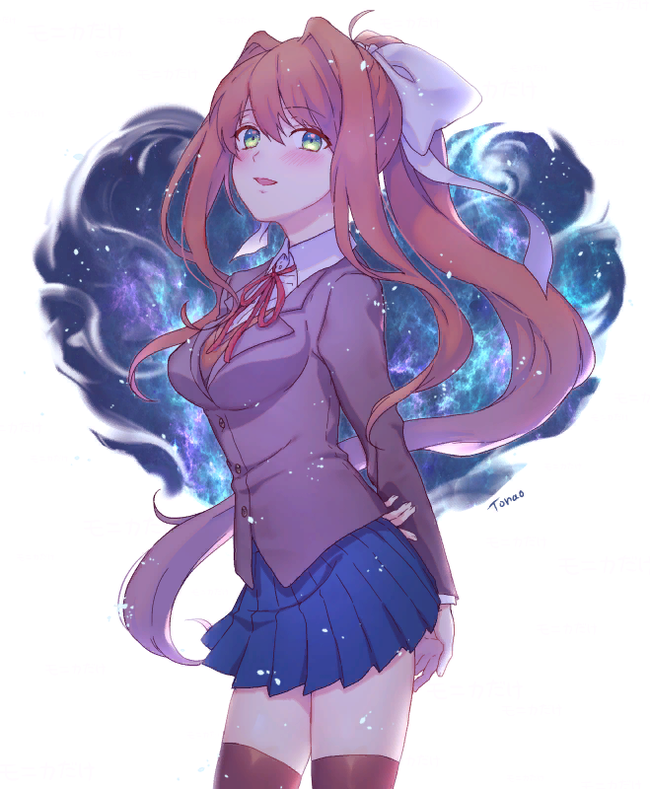 Bright as the stars in the sky Doki Doki Literature Club, Monika, Anime Art, Визуальная новелла
