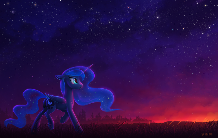 Sunrise My Little Pony, Princess Luna, Восход, Звездное небо, Scheadar
