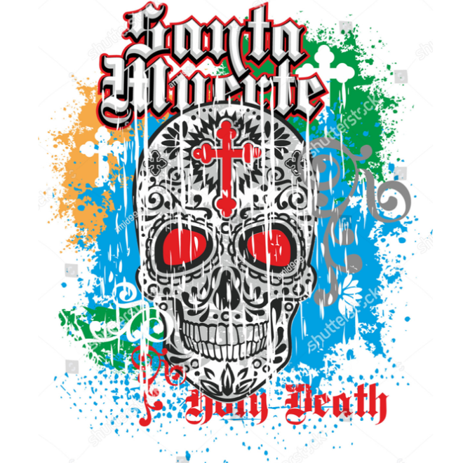 Holy Death, Day of the Dead, mexican sugar skull, grunge vintage design t shirts