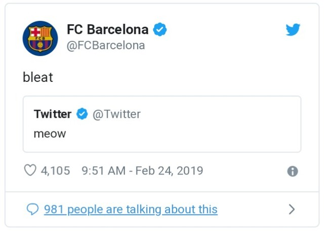 Барселона» написала bleat в ответ на meow в Твиттере Футбол, Барселона, Месси, Twitter