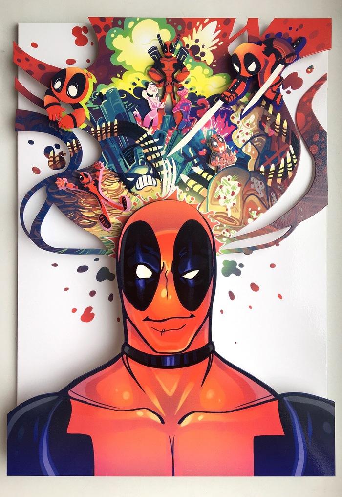 Диорама по комиксу DeadPool Deadpool, Marvel, Diorama, Диорама, Ручная работа, Своими руками, Объемное изображение, Картина, Длиннопост