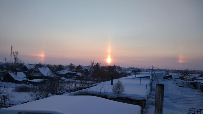 Опять гало, Новосибирская область, - 10 Гало, Солнце, Закат, Зима, Фотография