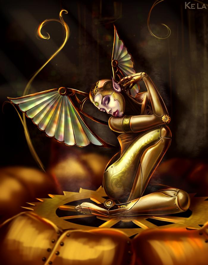 Механическая Фея Арт, Цифровой рисунок, Стимпанк, Photoshop, Фея, Девушки, Крылья, Рисунок