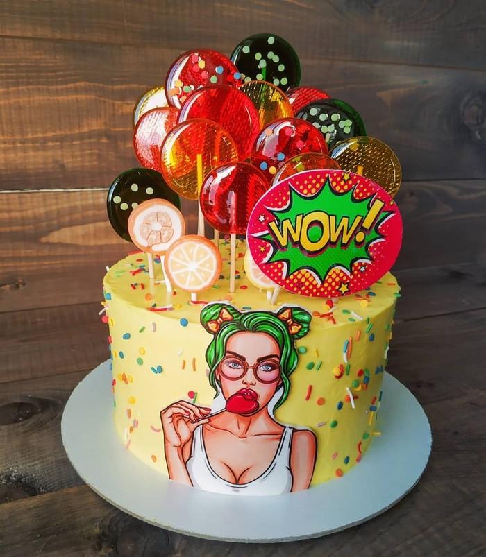Кокосово-вишневый торт в стиле поп-арт Торт, Своими руками, Рецепт, Кулинария, Кондитер, Сладости, Длиннопост