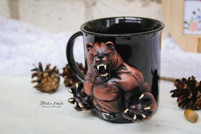 Добрый день всем хорошим людям! )) Сделала кружку с медведем на 23 февраля. Полимерная глина, Декор кружки, Медведь, Видео, Длиннопост