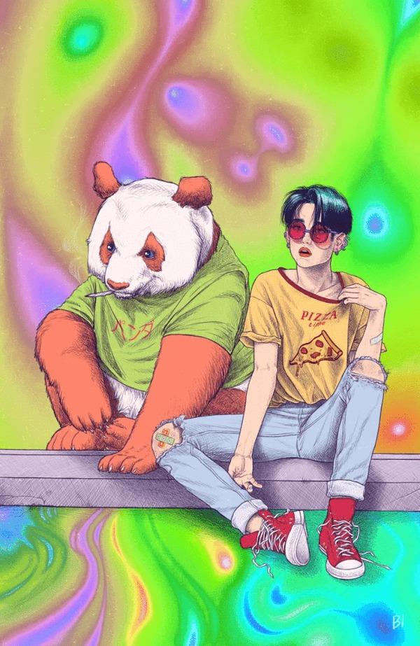 Веселая панда Панда, Девушки, Азиатка, Психоделия, Арт, Гифка, Длиннопост, Рисунок, Психоделика, Животные