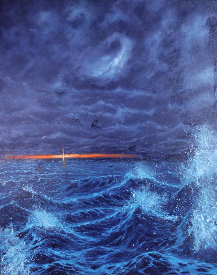 Шторм Картина, Море, Волна, Шторм, Картина маслом, Длиннопост