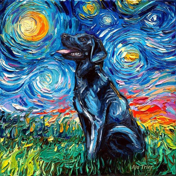 Ван Дог. Рисунок, Лабрадор, Звездная ночь, Любовь к Ван Гогу, Красивое, Талант, Творчество, Reddit