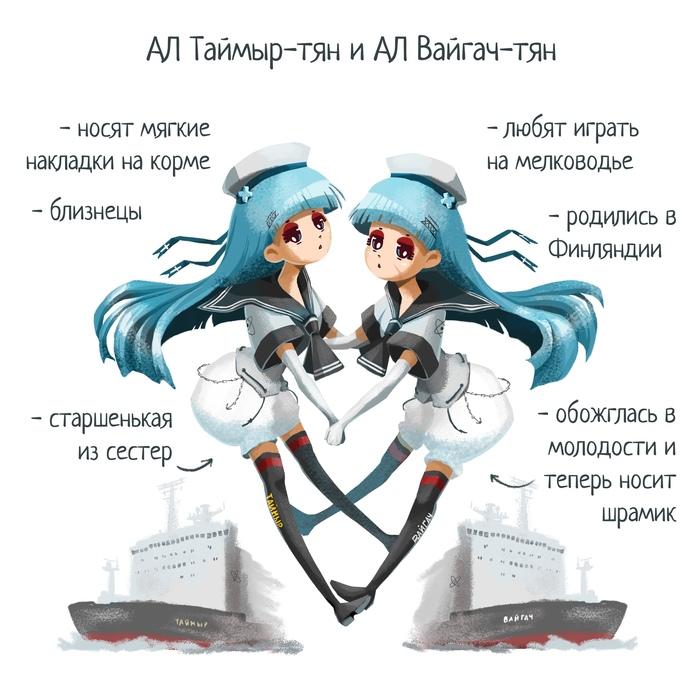 Хуманизация атомных ледоколов Хуманизация, Ледокол, Атомный ледокол, Арт, Длиннопост, Anime Original