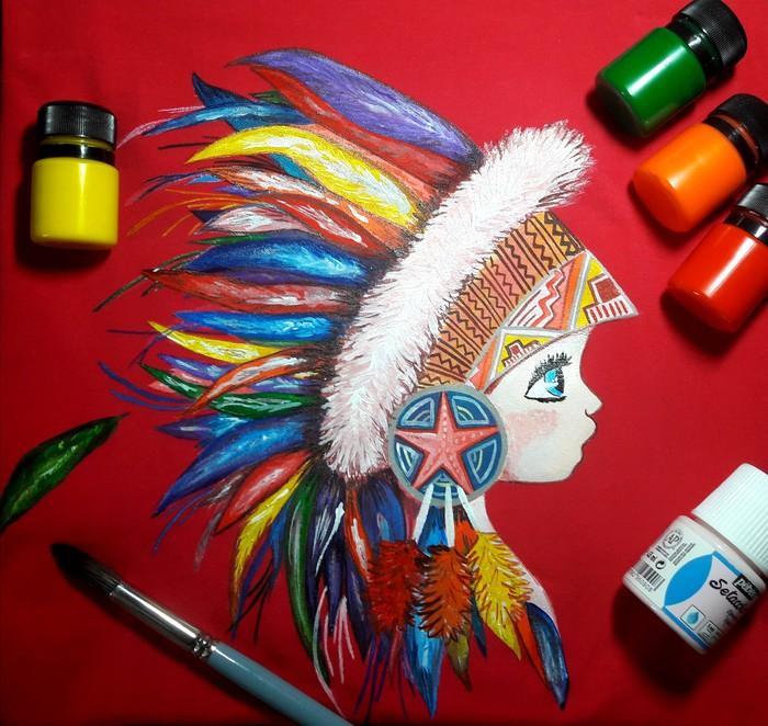 Индейская девочка Роспись по ткани, Индейцы, Футболка, Ручная работа, Акрил