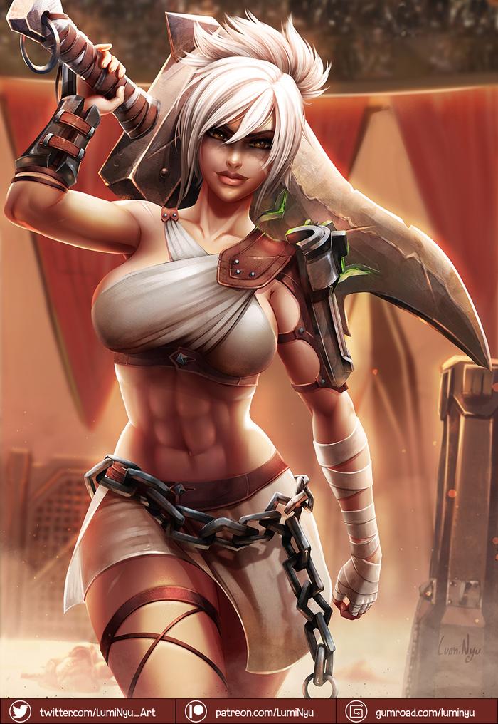 Riven Luminyu, Арт, Крепкая девушка, League of Legends, Riven, Lol, Воительница, Длиннопост