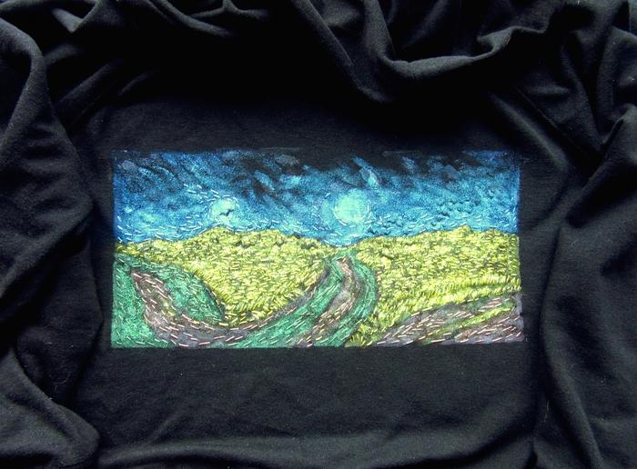 Пшеничное поле с воронами на толстовке Рукоделие, Вышивка, Ван Гог, Роспись по ткани, Рукоделие без процесса, Своими руками