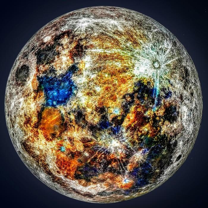 Разноцветная Луна Луна, Космос, Фотография, Астрофото, Reddit
