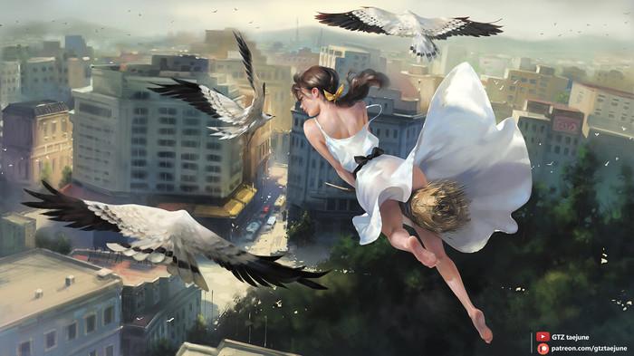 Ведьмочка Арт, Рисунок, Ведьмы, Девушки, Птицы, Taejune Kim