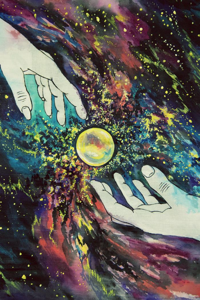Космос рядом. Роспись наволочки Космос, Творчество, Роспись по ткани, Ручная работа, Любовь, Энергия, Арт, Длиннопост