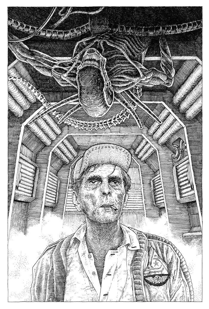 Alien Рисунок, Sci-Fi, Длиннопост, Чужой, Фильмы, Фантастика, Фан-Арт, Линер