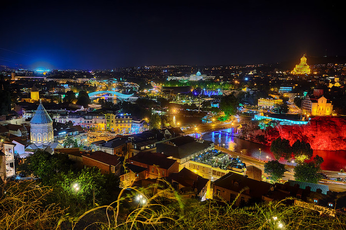 Тбилиси ночью. Путешествия, Грузия, Тбилиси, Ночная съемка, Город