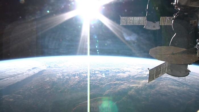 Закат на МКС Скриншот, МКС, Космос, Фотография, Длиннопост