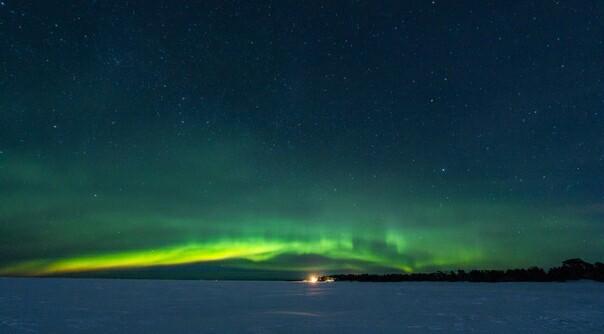 Аврора в ночь на 8 марта Северное сияние, Весна, Звездное небо, Аврора