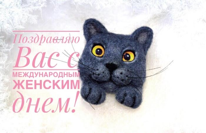 Кошка-брошка Кот, Брошь, Ручная работа, Рукоделие без процесса, Сухое валяние, Подарок, Длиннопост