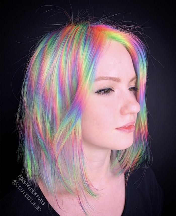 Весь спектр на голове Прическа, Окрашивание, Девушки, Волосы, Цвет
