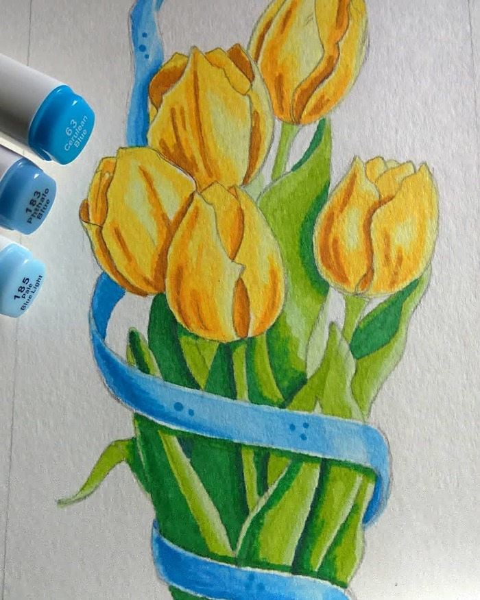 Тюльпаны Рисунок, Скетч, Тюльпаны, Длиннопост, Цветы, Маркер
