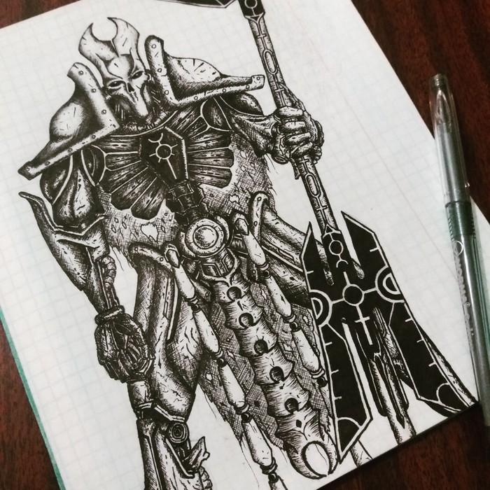 Warhammer 40k. Necron. Рисунок, Warhammer 40k, Necrons, Warhammer, Игры, Фэнтези, Рисунок ручкой